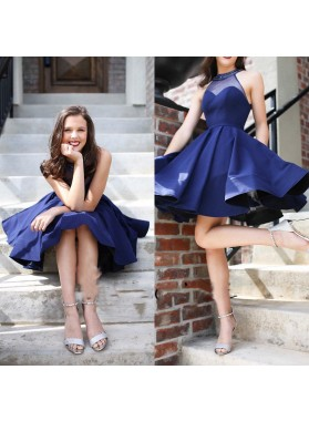 Halter See Through Navy Blue A Line Pleated Short Sleeveless Satin Homecoming Dresses