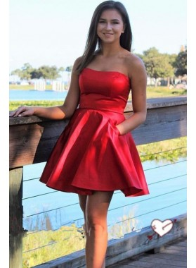 Satin Strapless Sweetheart A Line Pleated Sexy Short Simple Homecoming Dresses
