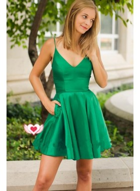 Deep V Neck Spaghetti Straps A Line Pleated Pockets Satin Hunter Homecoming Dresses