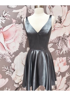 Sleeveless V Neck A Line Pleated Grey Satin Short Simple Homecoming Dresses