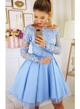 Long Sleeve Off The Shoulder Lace Appliques A Line Pleated Tulle Short Homecoming Dresses