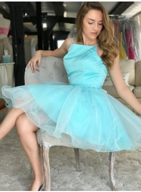 Spaghetti Straps A Line Pleated Organza Blue Knee Length Homecoming Dresses