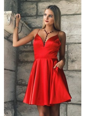 Spaghetti Straps V Neck Sexy A Line Satin Red Pleated Short Homecoming Dresses