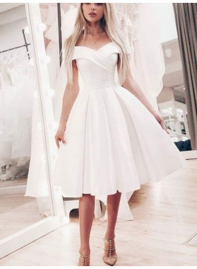 Off The Shoulder A Line Ivory Pleated Knee Length Satin Homecoming Dresses
