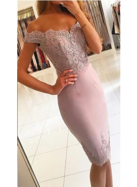 Sheath Off The Shoulder Lace Appliques Flowers Sexy Elegant Homecoming Dresses