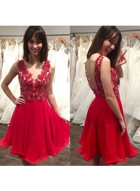 A Line Sheer Red Appliques Organza Pleated Backless Short Sleeveless Homecoming Dresses