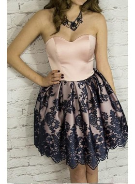 Strapless Sweetheart Backless A Line Short Lace Flowers Pleated Homecoming Dresses