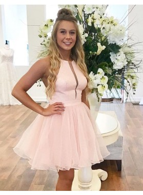 Halter Pink Organza A Line Short Pleated Sleeveless Simple Elegant Homecoming Dresses
