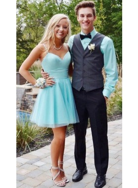Blue Sweetheart Spaghetti Straps A Line Tulle Pleated Simple Short Homecoming Dresses