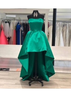 Strapless Sweetheart A Line High Low Hunter Satin Pleated Homecoming Dresses