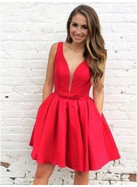 Sleeveless Red A Line Pleated Satin Deep V Neck Short Simple Sexy Homecoming Dresses