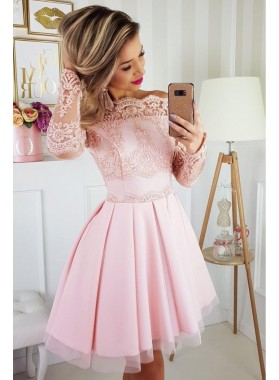 Pink Lace Off The shoulder Appliques Long Sleeve A Line Tulle Short Homecoming Dresses