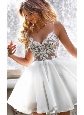 Spaghetti Straps White V Neck Lace Appliques A Line Chiffon Short Homecoming Dresses