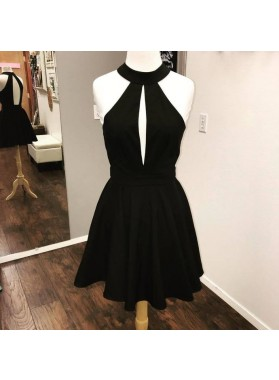 Halter Black Sleeveless Cut Out A Line Pleated Satin Backless Short Homecoming Dresses