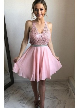 Chiffon Pink A Line Appliques Sleeveless V Neck Lace Short Homecoming Dresses