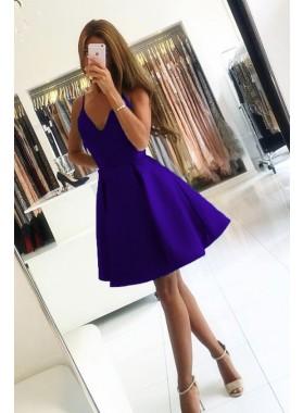 Spaghetti Straps Purple Deep V Neck A Line Short Satin Pleated Homecoming Dresses