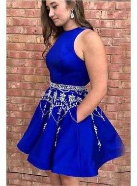 Halter Sleeveless A Line Royal Blue Beading Short Satin Homecoming Dresses