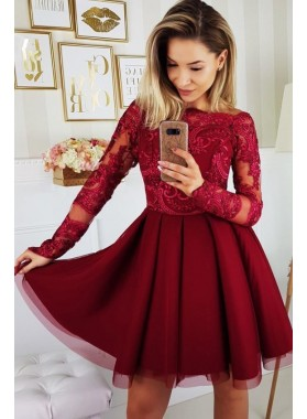 Burgundy Long Sleeve Bateau A Line Appliques Lace Tulle Pleated Homecoming Dresses