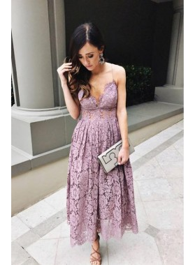 Spaghetti Straps Deep V Neck A Line Lace Pleated Ankle Length Homecoming Dresses