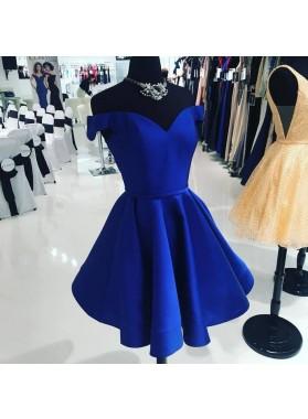 Royal blue Off The Shoulder V Neck A Line Satin Pleated Short Homecoming Dresses