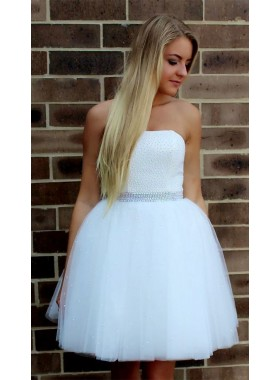 Strapless Ball Gown Tulle Beading Short White Pleated Princess Homecoming Dresses