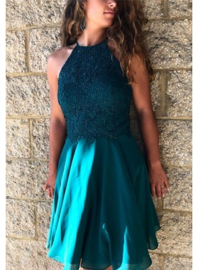 Halter Criss Cross Teal Backless A Line Appliques Chiffon Short Pleated Homecoming Dresses