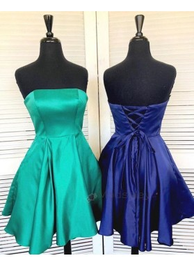 Strapless Backless Lace Up A Line Satin Short Pleated Homecoming Dresses