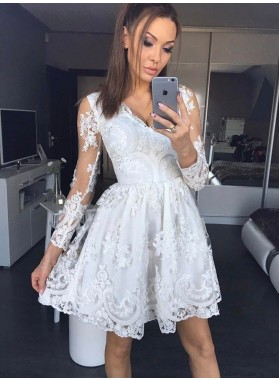 Long Sleeve White Deep V Neck A Line Lace Pleated Sheer Short Homecoming Dresses