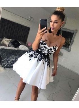 Sheer Straps A Line Appliques White V Neck Pleated Short Satin Homecoming Dresses