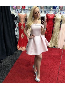 Pink Off The Shoulder Satin A Line Short Simple Elegant Pleated Homecoming Dresses