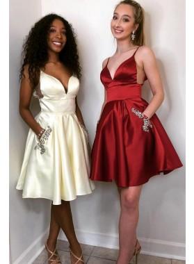 Spaghetti Straps Deep V Neck A Line Satin Sheer Short Pleated Homecoming Dresses