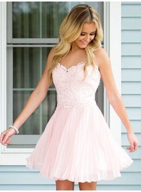 Strapless Sweetheart Chiffon A Line Pleated Appliques Blushing Pink Short Homecoming Dresses