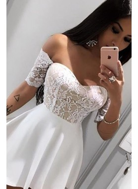 Off The Shoulder Half Sleeve A Line Lace Satin Ivory Short Homecoming Dresses