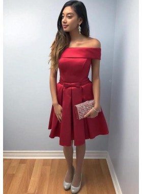 Off The Shoulder Red A Line Pleated Bowknot Elegant Satin Knee Length Homecoming Dresses