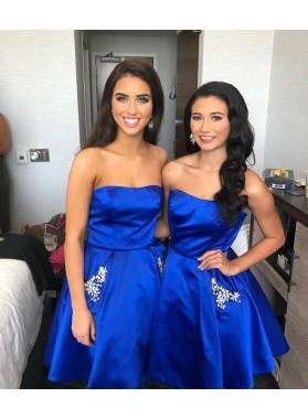 Royal Blue Strapless A Line Satin Pleated Short Rhinestone Homecoming Dresses