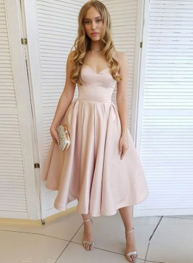 Strapless A Line Pleated Satin Ivory Sweetheart Elegant Sexy Homecoming Dresses