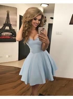 A Line Blue Deep V Neck Pleated Satin Short Sleeveless Simple Homecoming Dresses
