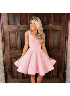 Deep V Neck Sleeveless A Line Satin Pink Pleated Short Homecoming Dresses