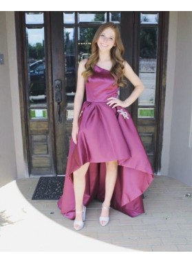One Shoulder Sleeveless High Low Floor Length Simple Satin A Line Homecoming Dresses