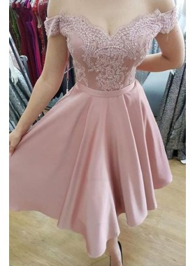 Dusty Rose Lace Off The Shoulder A Line Satin Pleated Short Homecoming Dresses