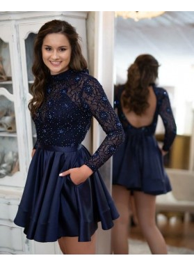 High Neck Backless Long Sleeve A Line Satin Lace Pleated Short Homecoming Dresses