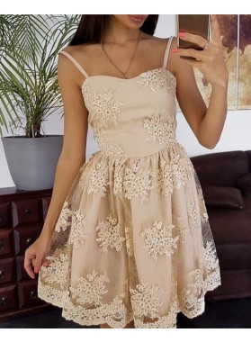 Spaghetti Straps Sweetheart A Line Lace Flowers Pleated Ivory Homecoming Dresses