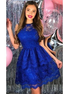 Jewel Sleeveless Lace A Line Pleated Elegant Sexy Royal Blue Short Homecoming Dresses