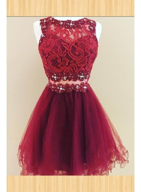 Short Sleeveless Jewel Lace Flowers Organza A Line Burgundy Homecoming Dresses