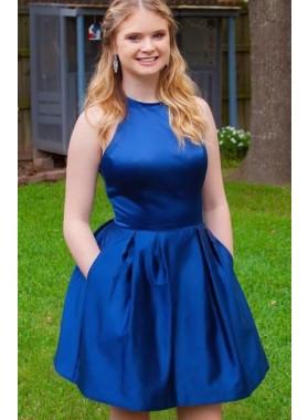 Halter Sleeveless A Line Pockets Satin Short Pleated Royal Blue Homecoming Dresses