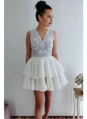 Ball Gown Tiered Ivory V Neck Sleeveless Lace Flowers Satin Short Homecoming Dresses