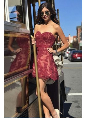 Strapless Sweetheart Lace Appliques A Line Pleated Burgundy Short Homecoming Dresses