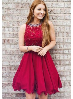 A Line Halter Sleeveless Pleated Red Lace Appliques Short Organza Homecoming Dresses