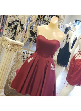 Sweetheart Detachable Spaghetti Straps A Line Backless Lace Up Satin Homecoming Dresses