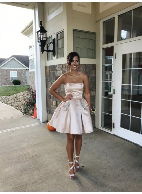Strapless A Line Pleated Satin Sexy Rhinestone Short Ivory Homecoming Dresses